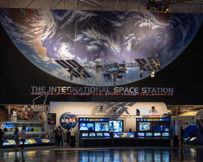 Johnson Space Centre Houston Johnson Space Center NASA Space Centre  Texas USA Illuminated Indoors  International Space Station Space Space Center Technology Travel Destinations