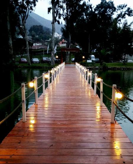 Club Las Laguna, La Molina. Laguna Lights Diminishing Perspective Dock Muelle No People Outdoors Water