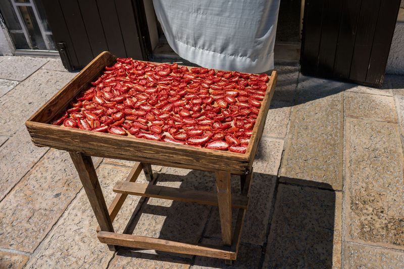 High angle view of food drying outdoors