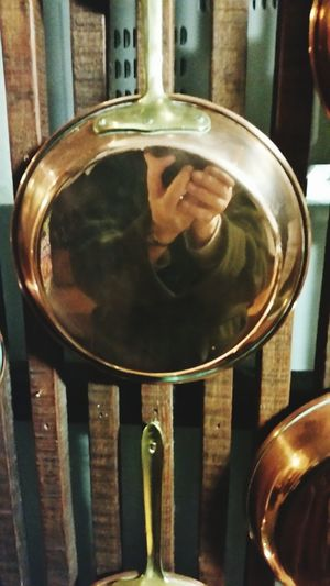 Polished Brass Shiny Reflection Close-up Cooking Pan