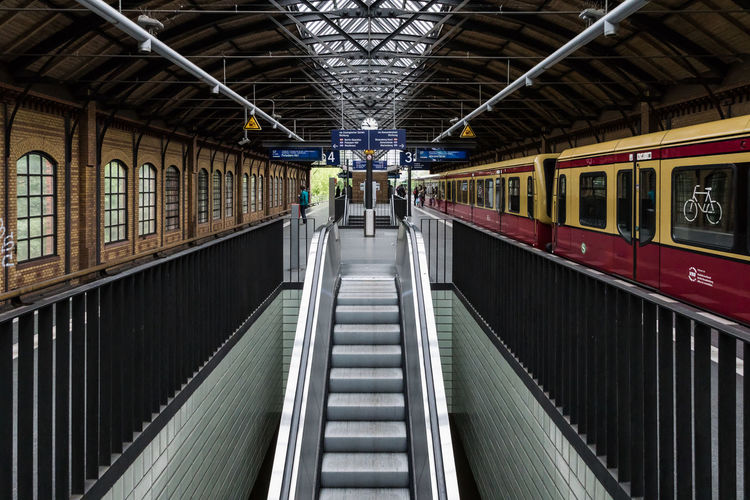 Empty escalator at railroad station