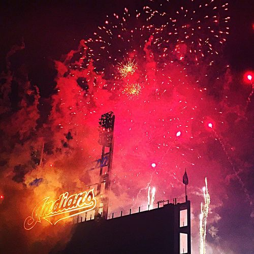 Fireworks Cleveland Indians IPhoneography Photography Iphonephotography Photooftheday Baseball Game June4th2016 Indians  Cleveland Baseball Baseball Field Mlb Red Celebration