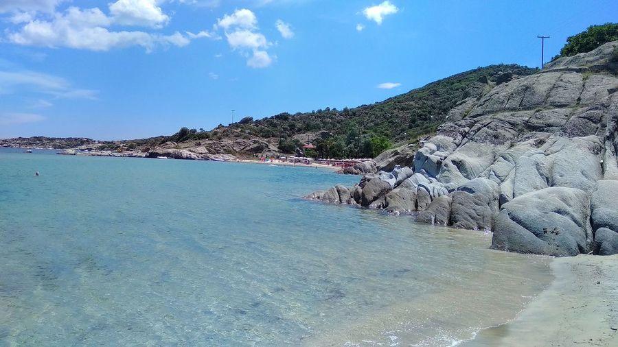 Holiday GREECE ♥♥ Suumer  Water Sea Beach Blue Sand Sky Rock Formation Idyllic Rock - Object