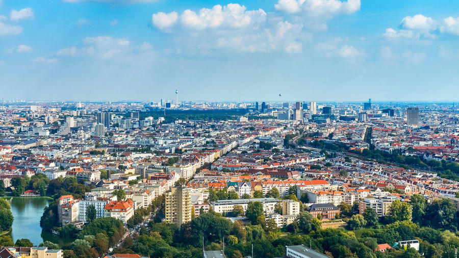 when in Berlin Berlin Germany Deutschland Travel Destinations Travel City Cityscape Panoramic Hot Air Balloon Aerial View Business Finance And Industry Urban Skyline Sunset Sky Architecture