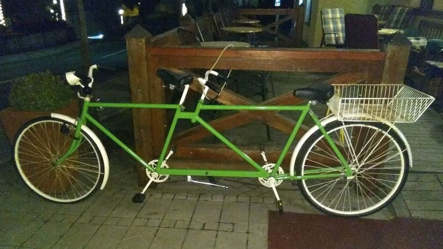 Bicycle Transportation Mode Of Transport Land Vehicle Stationary Parking Night Outdoors Street No People Bicycle Rack Building Exterior Architecture City Bike Tandem Tandembicycle Green Bike