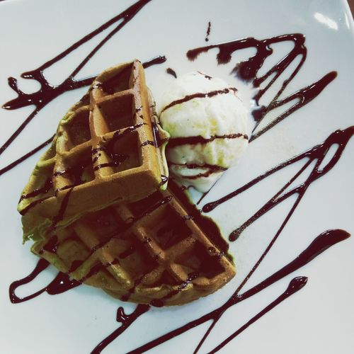 Sweet Food Ice Cream Frozen Food Ready-to-eat Waffer green tea waffle Food And Drink Dessert wafflesNo People Food Close-up