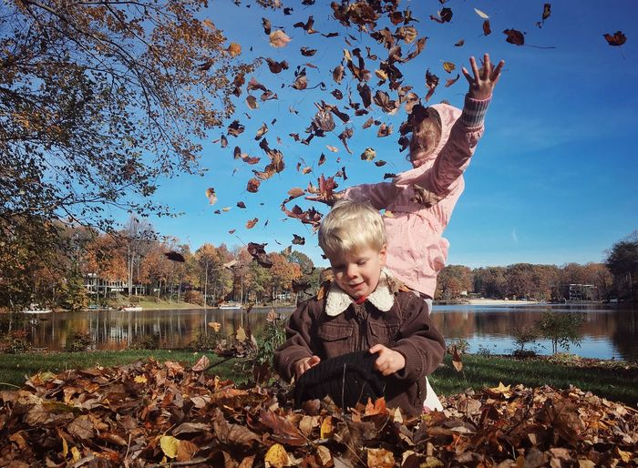 Children Playing With Autumn Leaves At Park