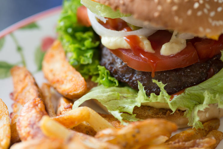 Close-up of burger and french fries