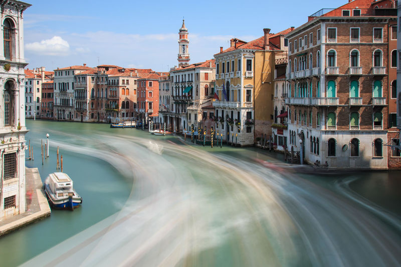Long exposure of Grand Canal in Venice, Italy Architecture Bridge Building Building Exterior Built Structure Canal Capital Cities  City City Life Day Gondola Ride Gondolas Grand Canal Venice Italy Long Exposure Shot Outdoors Residential Building Residential District Rialto Rialto Bridge Sky Tourism Tradition Travel Destinations Venice, Italy