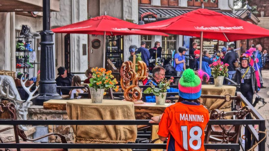 Bridge Street Day Outdoors People Pretzels Real People Vail  Vail Colorado Vail,co