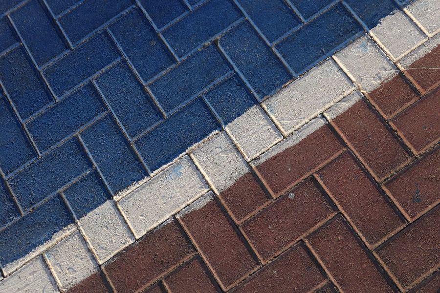 Street Full Frame Pattern Backgrounds No People Repetition Textured  Day High Angle View Design Sunlight Paving Stone Shape Footpath Outdoors Blue Geometric Shape In A Row Stone