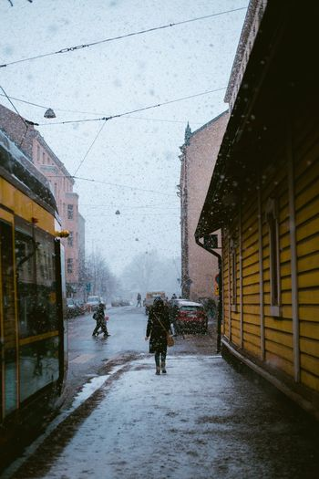 White Christmas Moody Snowfall Snowing Architecture Built Structure Building Exterior Building Snow City Winter Cold Temperature Snowing Street Real People Nature Outdoors It's About The Journey