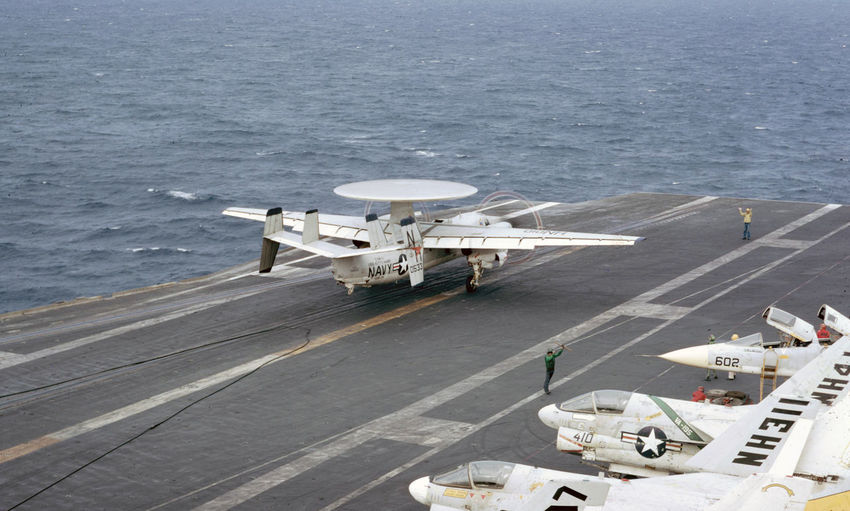 E-2C's Aerospace Industry Aircraft Carrier Airplane Airport Airport Runway Business Day E-2c Freight Transportation High Angle View Mode Of Transportation Nature Nautical Vessel Navy No People Road Sea Ship Shipping  Transportation Water