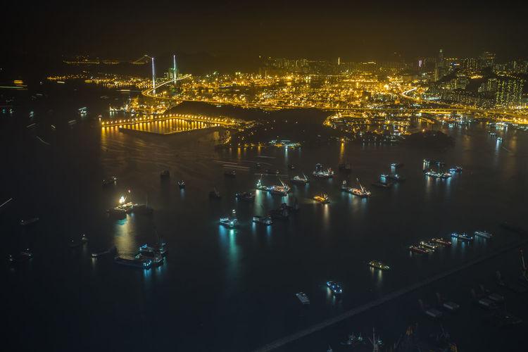Hong Kong Harbour Boats Bridge City Life Glowing Harbor Harbour Hong Kong HongKong Illuminated Light Long Exposure Night Urban Water Waterfront