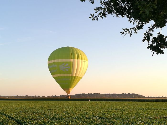 Balloon chases dogwalker Balloon Ballooning Clear Sky LandscapeNiederrhein Feel The Journey Cultivated Land Hot Air Balloon Real Photography Take A Look Outside Take A Look Through My Eyes The Magic Mission Korschenbroich Colour Of Life Outdoors Flying Kleinenbroich