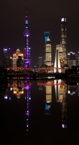 Nightphotography Shanghai, China The Bund Shanghai Architecture City Night Reflections In The Water Travel Destinations Urban Skyline Waterfront