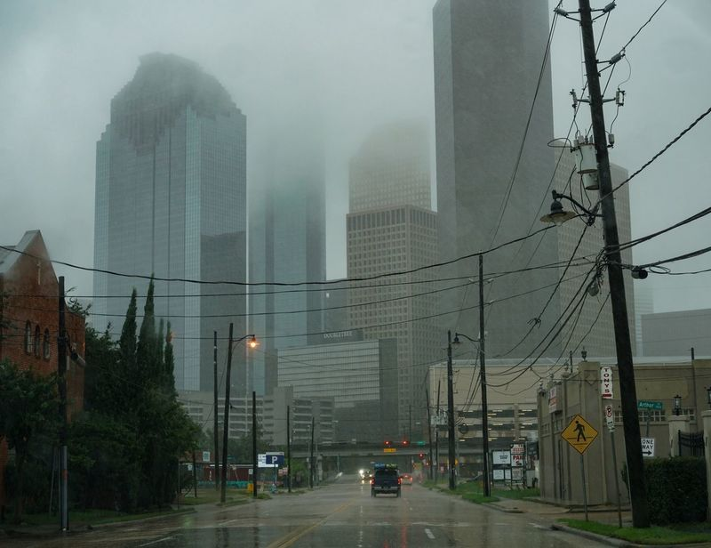 In the midst of Harvey Architecture Built Structure Building Exterior Street Outdoors Cable City Transportation Street Light Road Day Electricity Pylon No People Sky Houston Hurricane Tropical Storm