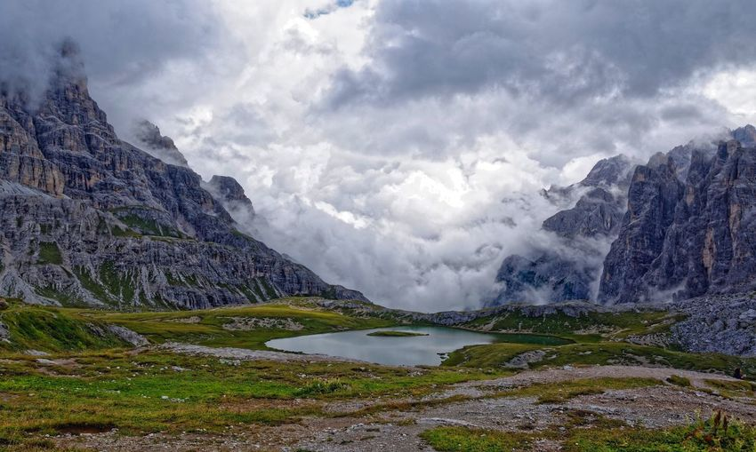 Knocking on haven's door Panorama Drei Zinnen Val Fiscalina Tre Cime Di Lavaredo Travelphotography On The Road EyeEm Best Shots Tamron 17 50 F/2.8 D7100 EyeEmBestPics EyeEm Nature Lover Mountain Travel Destinations Nikon Travel Cloud - Sky Beauty In Nature Sky Scenics - Nature Water Mountain Tranquil Scene Mountain Range Landscape Nature Environment Tranquility Lake Day Stay Out My Best Photo The Traveler - 2019 EyeEm Awards