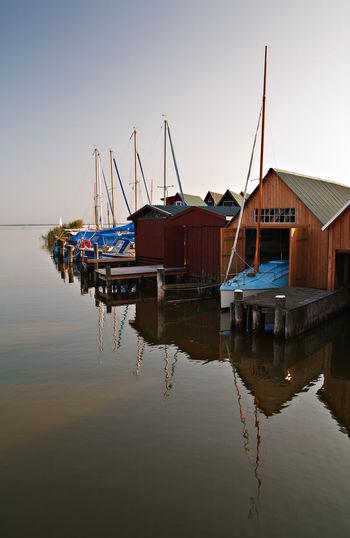 Boathouses on a lake