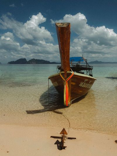 Paradose Tropical Paradise Boat Water Sea Beach Sky Land Transportation Cloud - Sky Nautical Vessel Sand Beauty In Nature Nature Mode Of Transportation No People Day Tranquility Outdoors Tranquil Scene Scenics - Nature Moored Anchored