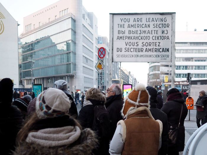City Crowd Large Group Of People Men People Responsibility Day Adult Outdoors Adults Only Berlin Checkpointcharlie Checkpoint Charlie  Tourism