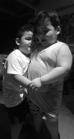 "Brotherly Love. Two small superstar kids. Eldest is already a celebrity on one of Philippine's GMA Network Show. The eldest name is Known as a super child star now here in Philippines as Sebastian aka ""Baste"". You can watch his dubsmash via Youtube. :) Two sweet brothers. His brother Samuel is highly known too. A wonderful chance with them again for the 2nd time last night. Samsam is very cuddly and adorable like Baste. :) Superstar Brothers In Arms  Brothersforlife Two Kids Two Is Better Than One :)) Cute Adorableness Awesome Brothers Black And White EyeEm Philippines Eyeemphoto Wonderful Moment Family Big Brothers Quality Time Bonding Time Love ♥ Hugs & Love  Hello World Brothers Eyeemph Benedict Brothers Famous People Famous"