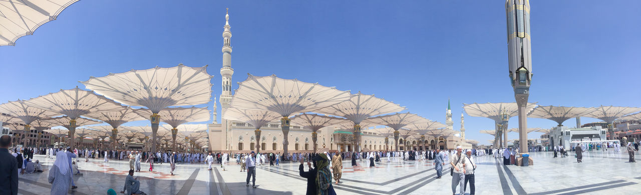 Prophet Muhammad Mosque In Medina In Panorama Mode. Al-Masjid An-Nabawi (Prophet's Mosque) Is A Mosque Established And Originally Built By The Prophet Muhammad PBUH, Situated In The City Of Medina In Saudi Arabia Architecture Eid Eid Mubarak Fasting Hajj Holy Islam Masjid Mecca Mecca Al-mukarramah Medina Mosque MUHAMMAD Muslim Nabawi Mosque Pilgrimage Prophet Ramadan  Ramadhan Saudi Arabia Syawal Umrah