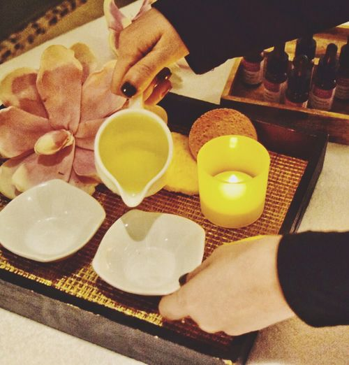 Spa Pamper Beuaty  Tea Light Petal Flower Candle Indoors  Human Hand High Angle View Table Bowl Plate Real People Holding Freshness Human Body Part One Person Indoors  Healthy Lifestyle Flame Lifestyles Ready-to-eat Close-up Day