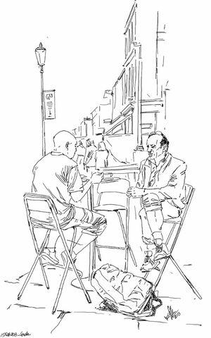 Coffee Meeting Friends Fun Cafe Sketch Kaay