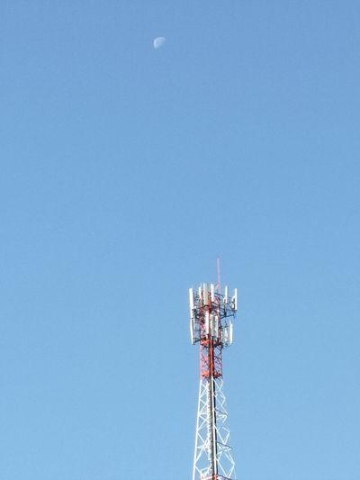 Phone pole with moon. Telephone Pole Moon Sky Blue Technology