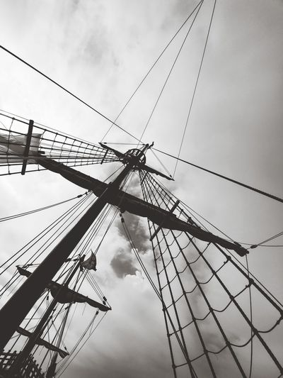 Rope Scaffolding Crow's Nest Grey Sky Florida Mode Of Transportation Built Structure Architecture Technology Rope Nautical Vessel Pole Outdoors Sailboat Day No People Nature Connection Low Angle View Cloud - Sky Sky Rigging Cable Mast Netting Scaffolding Black And White
