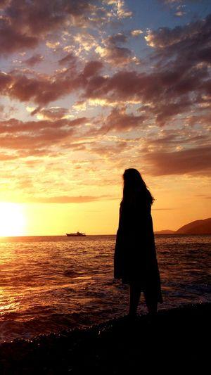 Portrait Of A Friend Travel Gagra Sea Girl Sunset Beautiful Sunset Ship