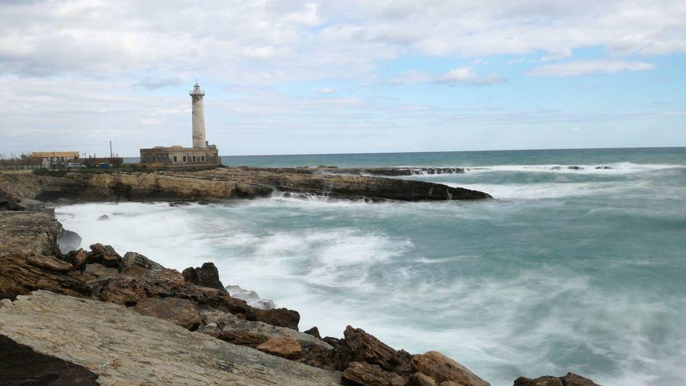 Lighthouse Sea Water Stormy Sea First Eyeem Photo No Photoshop Silk Effect Sicily Phone Winter Augusta Siracusa