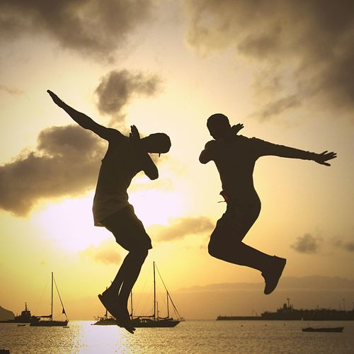 JUMP☘️ Water Sunset Sky Silhouette Jumping Sea Two People Nature People Fun Orange Color Positive Emotion Men Cloud - Sky Mid-air Motion Lifestyles Full Length Togetherness Leisure Activity