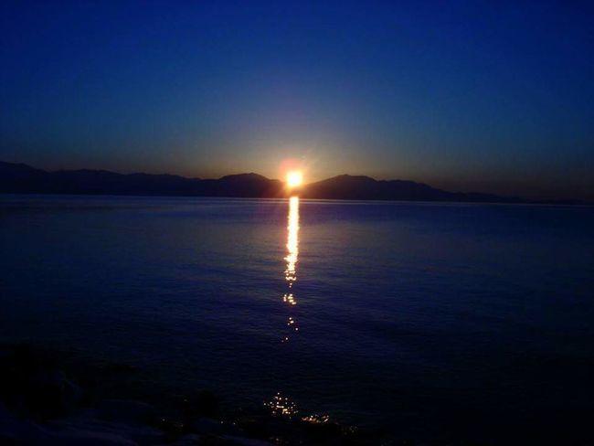 Darkness Sunset Water Horizon Over Water Darkblue Darkblue Sky Red Reflection