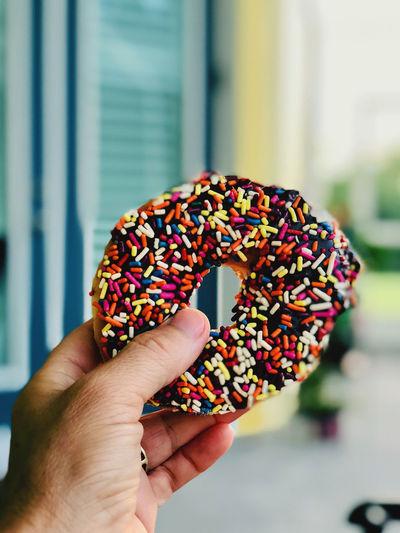Donut with sprinkles.