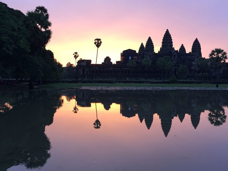Siem Reap Sunrise Peaceful Beauty In Nature Morning Light View Reflection Travel Destinations