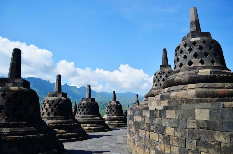 The stupas at Borobudur Stupa Borobudur Jogjakarta Jogja INDONESIA Backpacking
