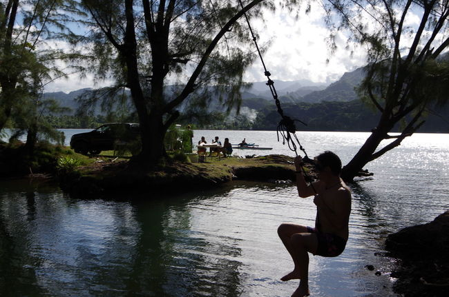 Water Tree Real People Rope Swing Adult Done That. Pacific Ocean Tahiti ❤ Multi Faces Of French Polynesia Outdoors The Purist (no Edit, No Filter)