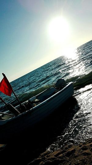 Boat Sea No People Beach Nature Outdoors Water Sky Beautiful Sea Popular EyeEmBestPics Follow Polish Sea Great Sunset Sunshine