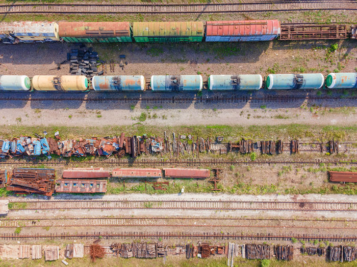 High angle view of train by railroad tracks