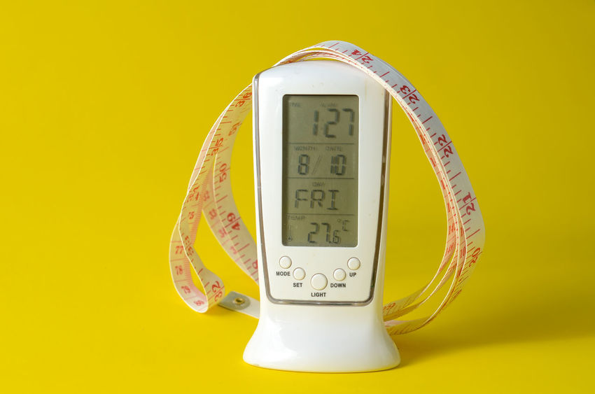 Accuracy Clock Close-up Colored Background Communication Gauge Indoors  Instrument Of Measurement Measuring Meter - Instrument Of Measurement No People Number Single Object Still Life Studio Shot Technology Temperature Text Thermometer Wall - Building Feature Yellow Yellow Background
