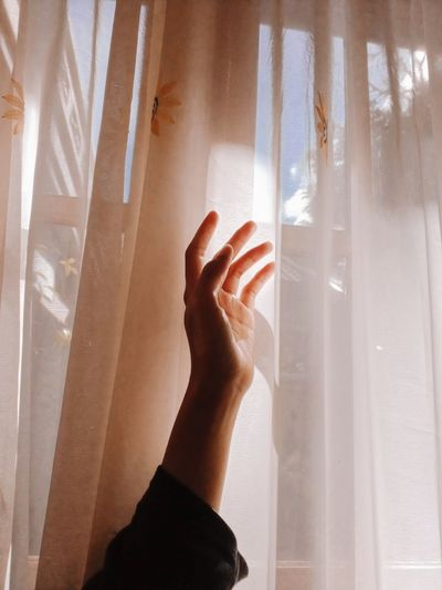 Close-up of woman hand on window
