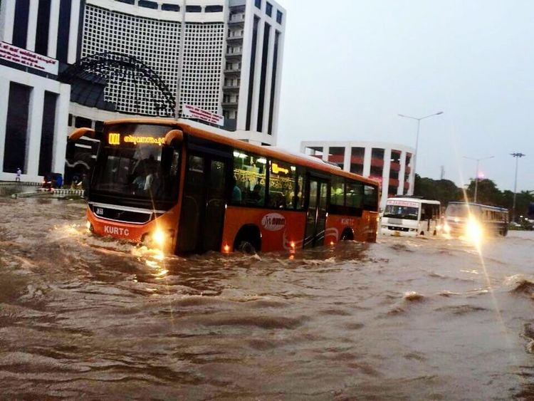 Haha....who told that bus can't travel in flood....it happens on gods own country.....