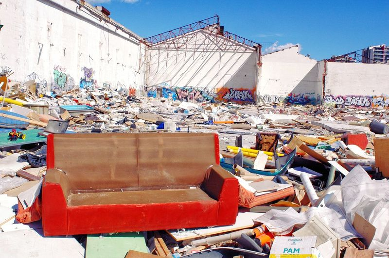 Stack of garbage at market stall