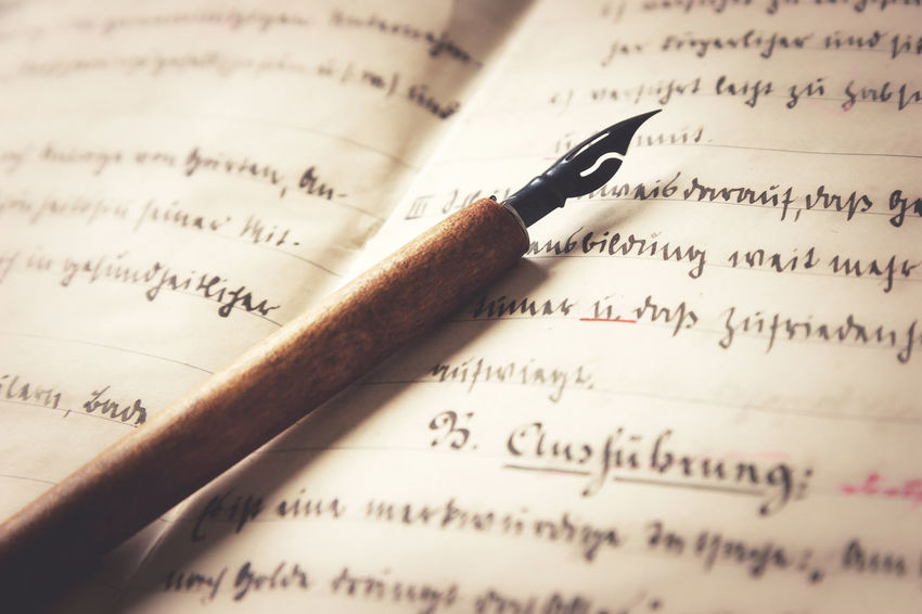 Old pen and written paper. Close-up Communication Day Feder Handschrift Handwriting  Indoors  Letter No People Old Page Paper Pen Schrift Schulheft Text Typography Writing Writing