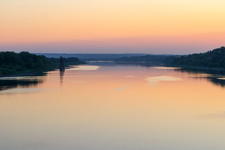 River View Dusk Idyllic No People Non-urban Scene Orange Color Outdoors Reflection River Riverscape Siberia Sky Sunset Tranquil Scene Tranquility Water Waterfront