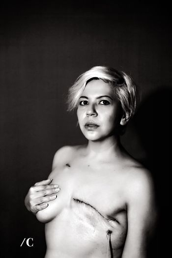 I am pink warrior Mastectomy Portrait Women Shirtless Beauty