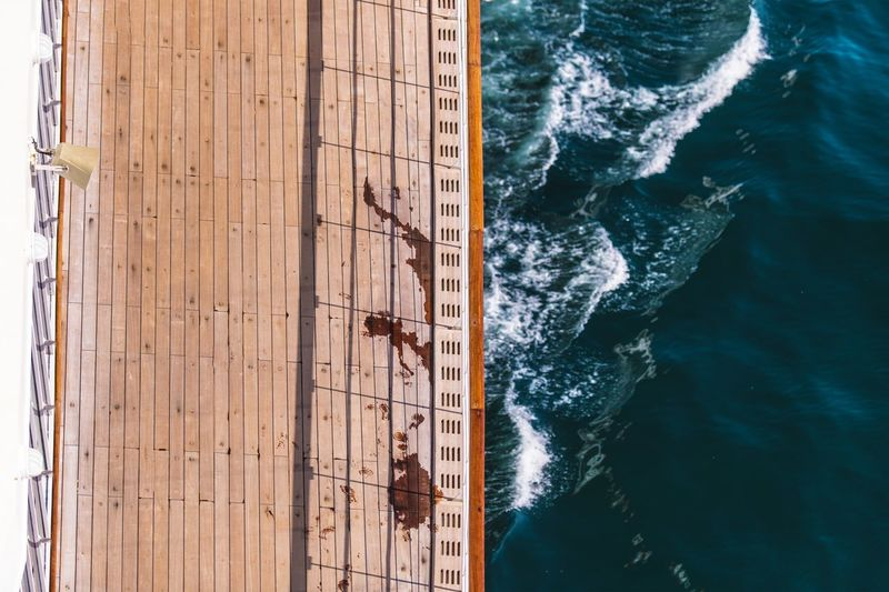 Directly above shot of ship sailing on sea