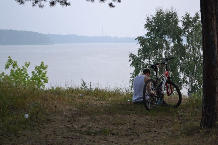 Rear view of man sitting by bicycle on field near lake